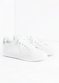 White Glitter Tab Low Tow Sneaker