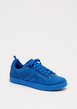 Blue Canvas Low Top Sneakers