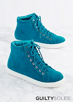 Blue Jenna Suede High Top Sneaker By GuiltySoles