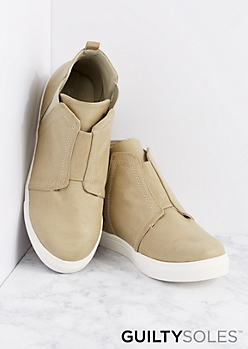 Taupe Naya High Top Sneaker By GuiltySoles