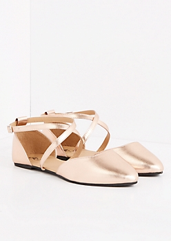 Rose Gold Ankle Strap Flat - Wide Width
