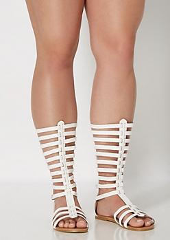 White Buckled Gladiator Sandal - Wide Width