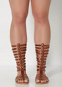 Bronze Buckled Gladiator Sandal - Wide Width