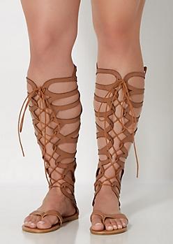 Cognac Scalloped Gladiator Sandals - Wide Width