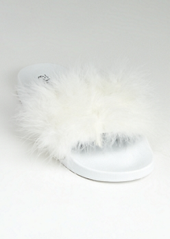 White Feathered Slide On - Wide Width