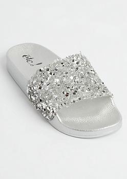 Silver Metallic Crushed Crystal Slide