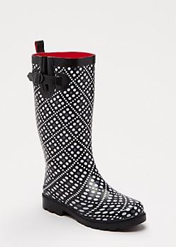 Tall Diamond Dot Rain Boot by Capelli New York®