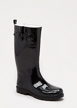 Tall Black Fleecy Rain Boot by Capelli New York®
