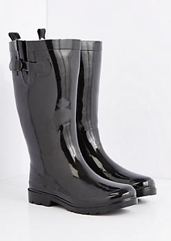 Black Cozy Lined Tall Rain Boot by Capelli New York