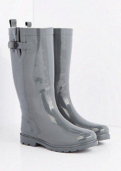Gray Cozy Lined Tall Rain Boot by Capelli New York