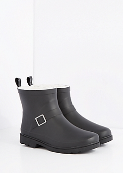 Black Cozy Lined Short Rain Boot by Capelli New York