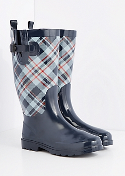 Plaid Calf Tall Rain Boot by Capelli New York