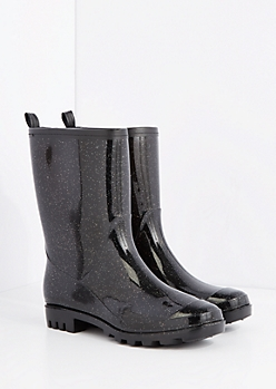 Black Sparkle Rain Boot by Capelli New York