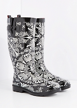 Ornate Medallion Tall Rain Boot by Capelli New York