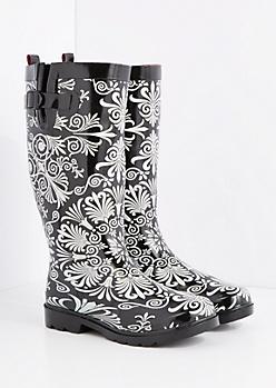 Ornate Medallion Tall Rain Boot by Capelli New York