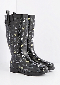 Graphic Arrow Tall Rain Boot by Capelli New York