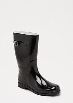 Black Mid Calf Rain Boot