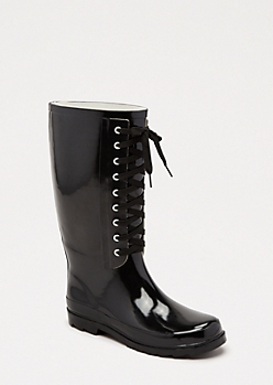 Black Lace-Up Tall Rain Boot