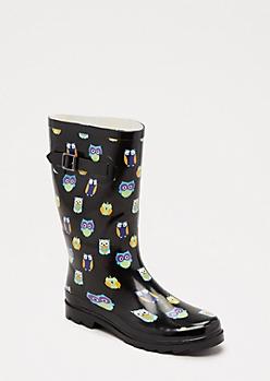 Owl Party Mid Calf Rain Boot
