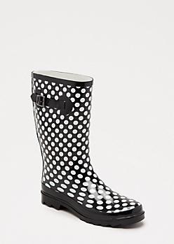 Polka Dotted Mid Calf Rain Boot