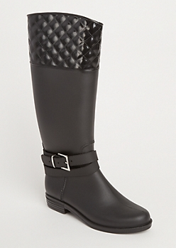 Black Strappy Quilted Rain Boot By Yoki