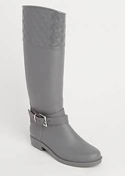 Gray Strappy Quilted Rain Boot By Yoki