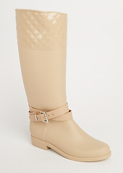 Cream Strappy Quilted Rain Boot By Yoki