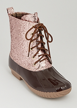Rose Gold Glitter Duck Boot By Yoki