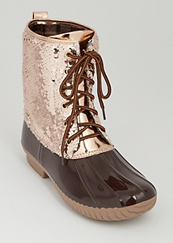 Rose Gold Sequined Duck Boot By Yoki