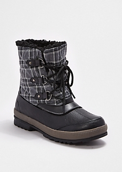 Black Plaid Lace-Up Boot