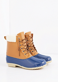 Blue Mock Sherpa Cuff Duck Boot