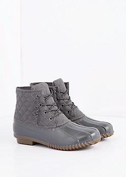Gray Quilted Duck Boot