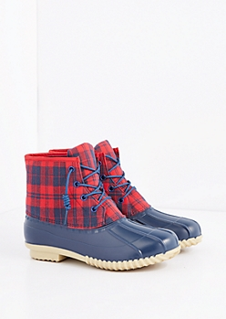 Navy Plaid Duck Boot