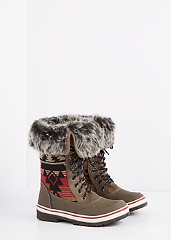 Aztec Faux Fur Cuff Duck Boot