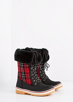 Plaid Faux Fur Cuff Duck Boot
