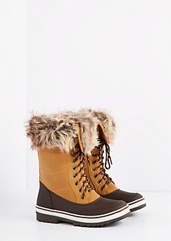 Brown Faux Fur Cuff Duck Boot