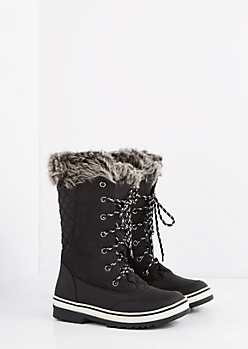 Black Quilted Faux Fur Cuffed Duck Boot