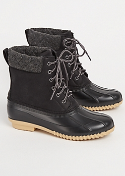 Black Wool Trimmed Duck Boots