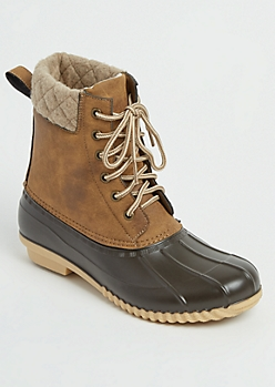 Camel Wool Trimmed Duck Boot