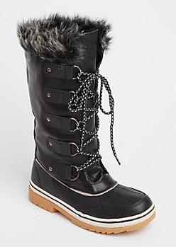 Black Faux Fur Trim Duck Boots