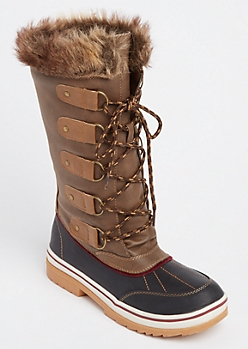 Brown Faux Fur Trim Duck Boot