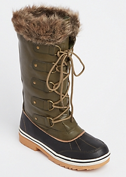 Olive Faux Fur Trim Duck Boot