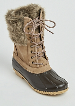 Faux Fur Collar Duck Boots