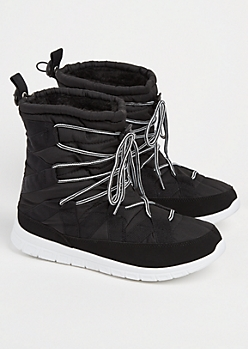 Black Strapped Faux Fur Lined Snow Boot