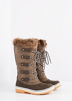 Gray Lace-Up Faux Fur Cuffed Duck Boot