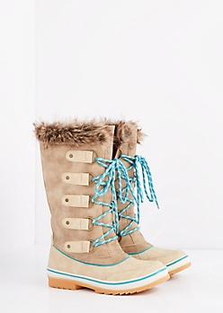 Taupe Lace-Up Faux Fur Cuffed Duck Boot