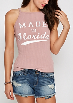 Florida Ribbed High Neck Tank