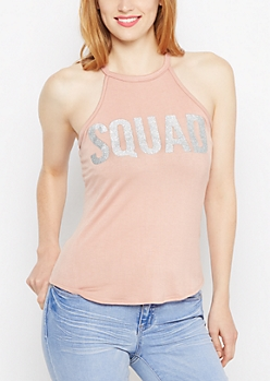 Squad Glittering High Neck Tank Top