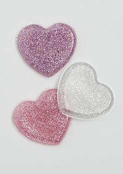 3-Pack Glitter Heart Silicone Sponge