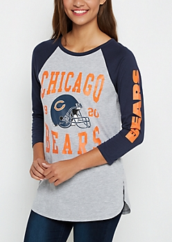 Chicago Bears Heathered Baseball Tee